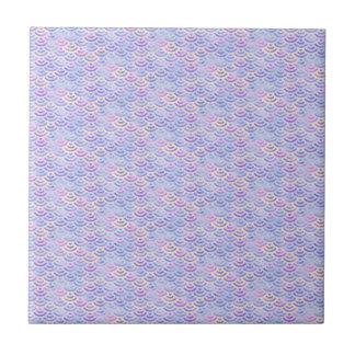 Purple Rainbow Mermaid Pastel Pattern Tile