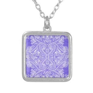 Purple, Raven of mirrors, dreams, bohemian Silver Plated Necklace
