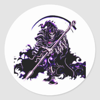 purple reaper classic round sticker