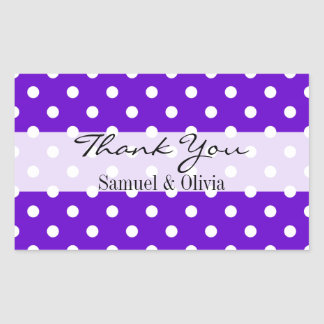 Purple Rectangle Custom Polka Dotted Thank You Sticker
