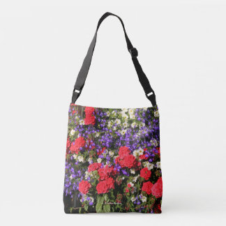 Purple, Red, and White Annual Flowers Crossbody Bag