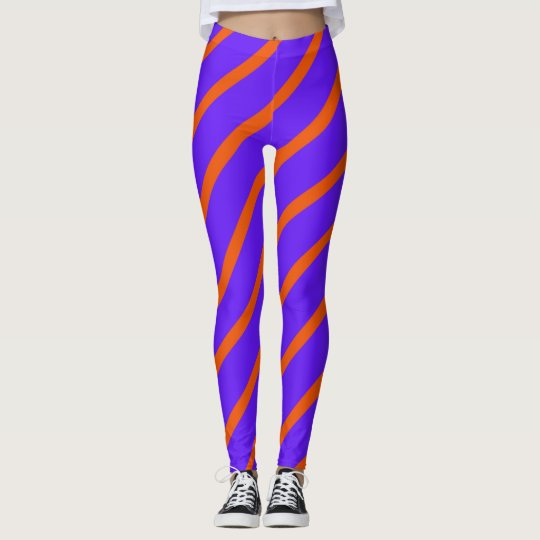 Purple Red Angled Stripes Leggings