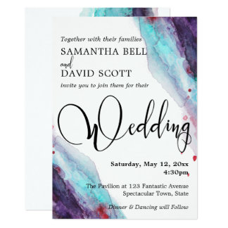 Purple Red Aqua Watercolor Modern Wedding 2 Card