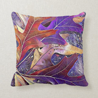 Purple Red Autumn Fall Leaves CBendel Throw Pillow