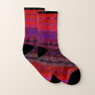 Purple Red Blue Stripe Pattern Socks 1