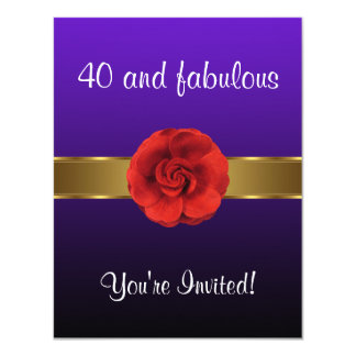 Purple Red Flower Gold Fabulous 40th Card