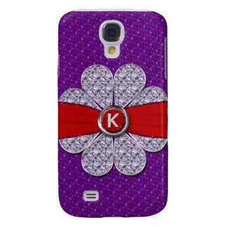 Purple & Red Glitter, Diamond Flower Monogram