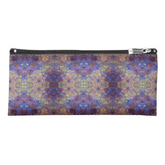 purple red gold paint swirls pencil case
