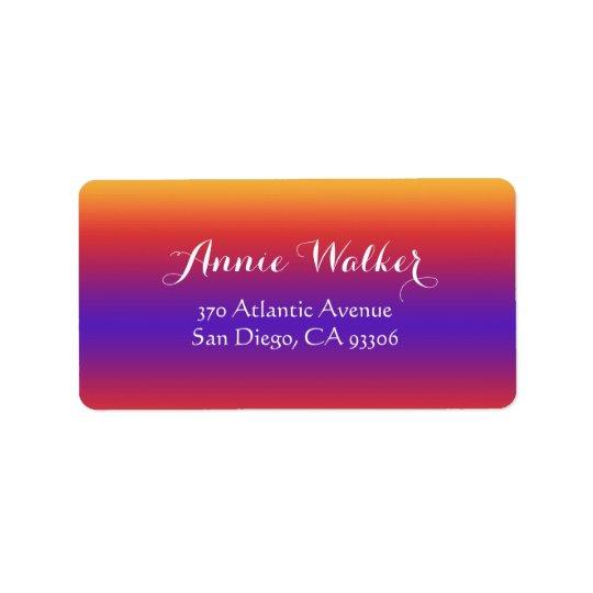 Purple Red Orange Gradient Stripes Label