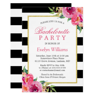 Purple Red Pink Fuchsia Floral Bachelorette Party Card