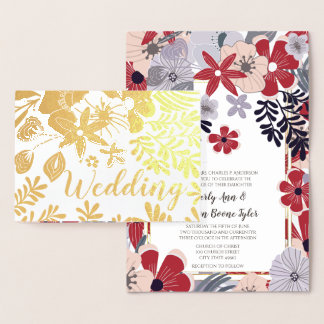 Purple Red Pink Gold Foil Wedding Invitations
