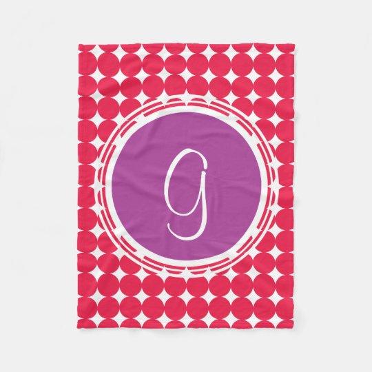 Purple & Red Polka Dot Monogram Fleece Blanket