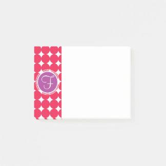 Purple & Red Polka Dot Monogram Post-it Notes