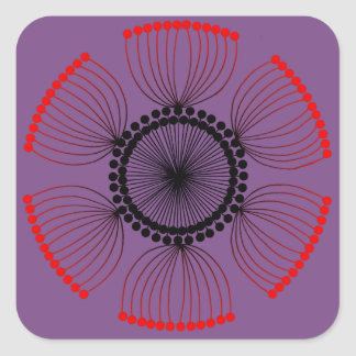 Purple - Red Poppyseed Mandala Square Sticker