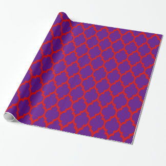 Purple Red XL Moroccan Quatrefoil #4 Wrapping Paper