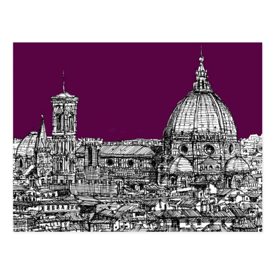 Purple renaissance drawing postcard