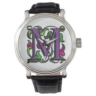 Purple Renaissance Illuminated Manuscript M Watch