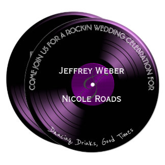 Purple Retro Colorful Vinyl Record Wedding Card