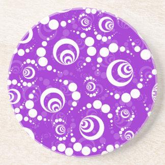 Purple Retro Crop Circles Beverage Coasters