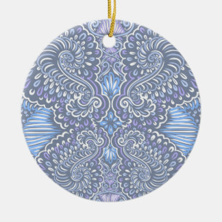 Purple retro floral pattern round ceramic ornament