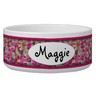 Purple Retro Pattern Personalized Ceramic Dog Bowl