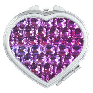 Purple Rhinestones Compact Mirror