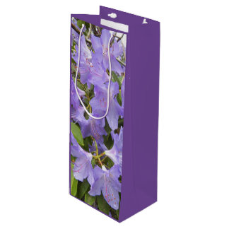 Purple Rhododendrons Floral Wine Gift Bag