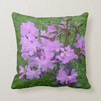 Purple Rhododendrons Throw Pillow