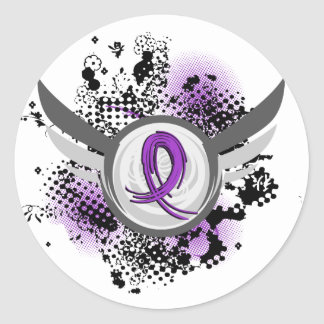 Purple Ribbon And Wings Alzheimer's Disease Classic Round Sticker