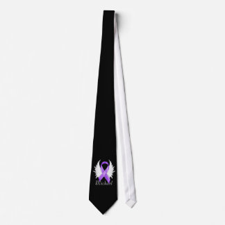 Purple Ribbon Angel Wings Tie
