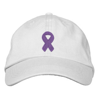 Purple Ribbon Awareness Embroidered Baseball Cap