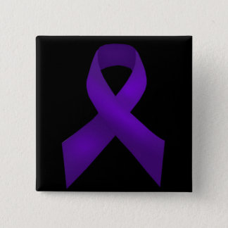 Purple Ribbon Awareness Lupus 2 Inch Square Button