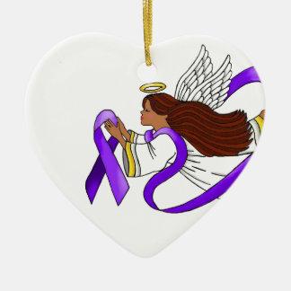 """Purple Ribbon"" Ethnic Angel of Awareness Ceramic Heart Ornament"