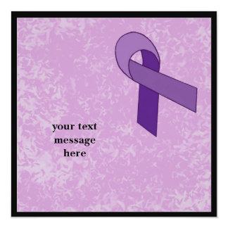 """purple ribbon event 5.25"""" square invitation card"""