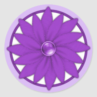 Purple Ribbon Flower Sticker