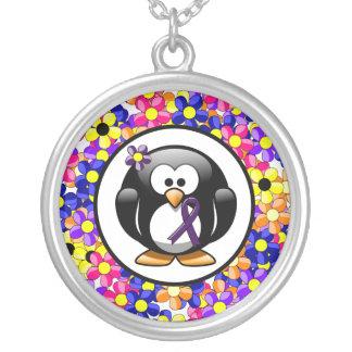 Purple Ribbon Penguin Round Pendant Necklace