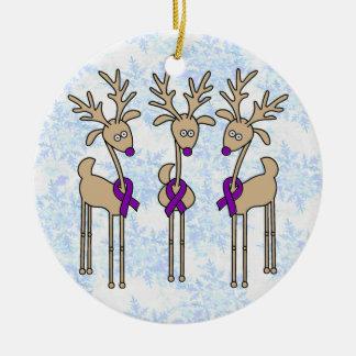 Purple Ribbon Reindeer - Alzheimer's Disease Ceramic Ornament