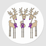 Purple Ribbon Reindeer - Alzheimer's Disease Round Sticker