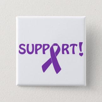 Purple Ribbon Support! 2 Inch Square Button