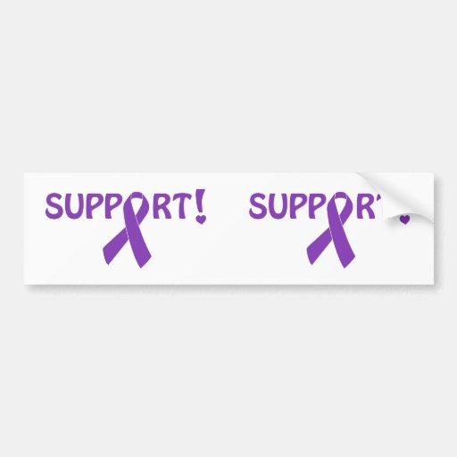 Purple Ribbon Support! Bumper Stickers