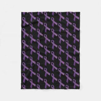 Purple Ribbons Tiled  Pattern Fleece Blanket