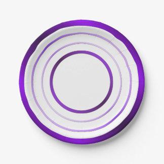 Purple Rings Paper Plate