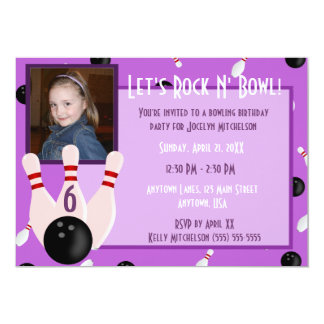 Purple Rock And Bowl With Photo Bowling Party Card