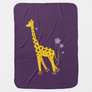 Purple Roller Skating Funny Cartoon Giraffe Baby Blanket