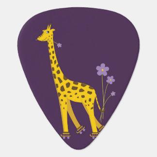 Purple Roller Skating Funny Cartoon Giraffe Guitar Pick
