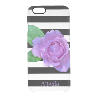 Purple Rose, Black and White Stripes-Personalized Clear iPhone 6/6S Case