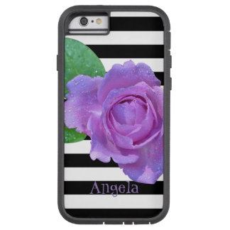 Purple Rose, Black, White Stripes- Personalized Tough Xtreme iPhone 6 Case