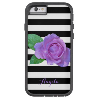 Purple Rose, Black, White Stripes Personalized Tough Xtreme iPhone 6 Case