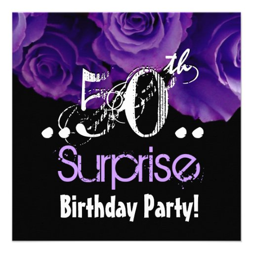 Purple Rose Bouquet 50th Surprise Birthday Party Invitations