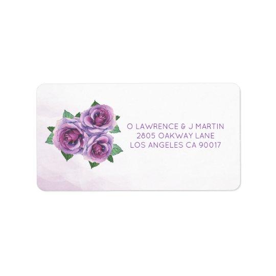 Purple Rose Bouquet Floral Label
